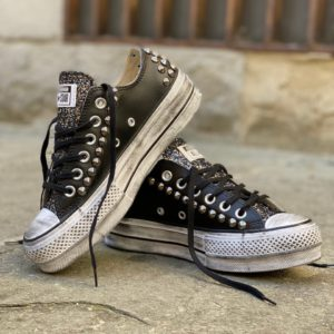 Converse LOW Pelle Black borchie glitter