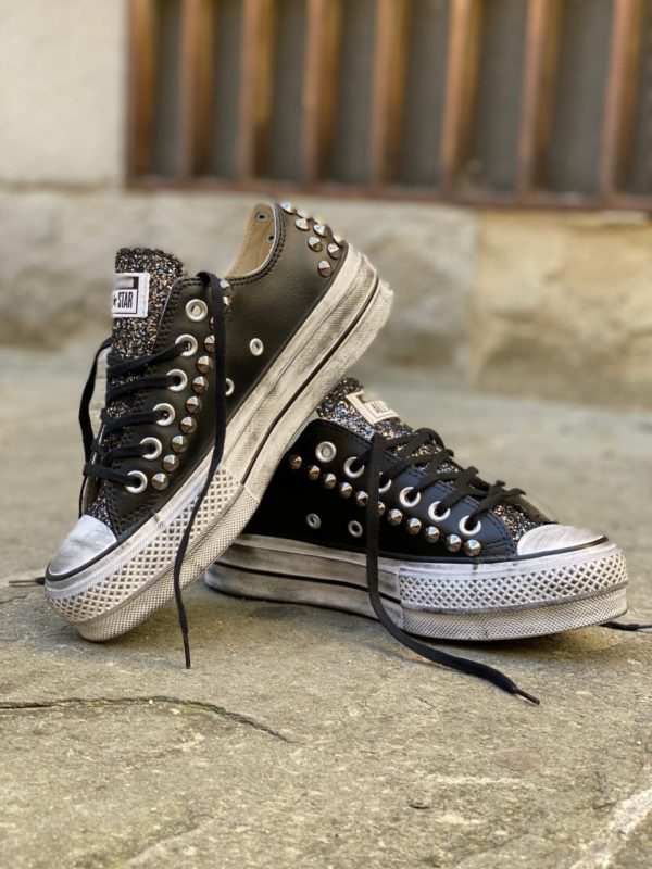 Converse LOW Pelle Black borchie glitter