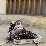 Converse LOW Pelle Black borchie glitter 3
