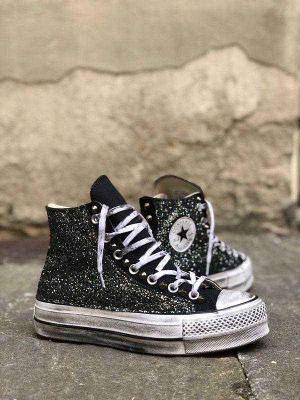 Converse Platform HIGH BLACK Glitter