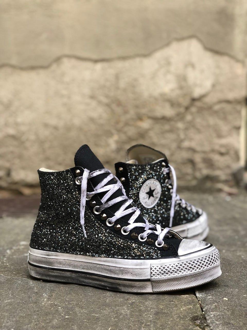 converse platform con glitter