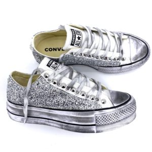 Converse PLATFORM Low White GLITTER Silver