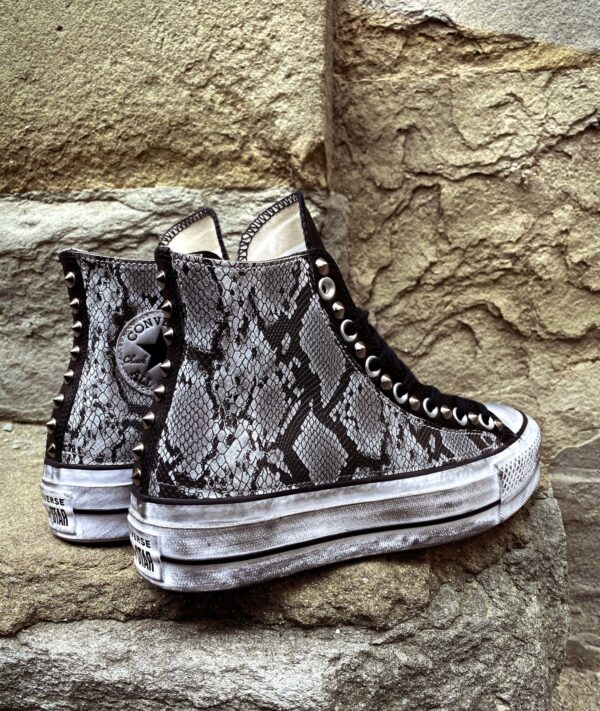 Converse Platform LEATHER BLACK Pitone White