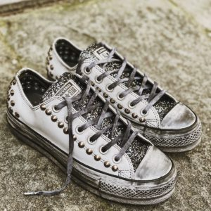 Converse LTD LOW Pelle white borchie glitter