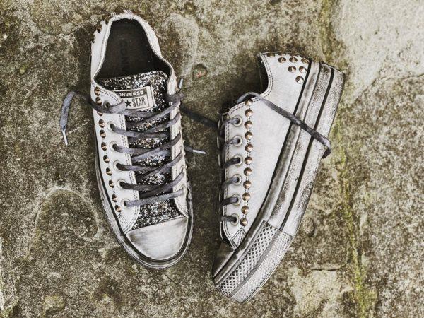 Converse LTD LOW Pelle white borchie glitter