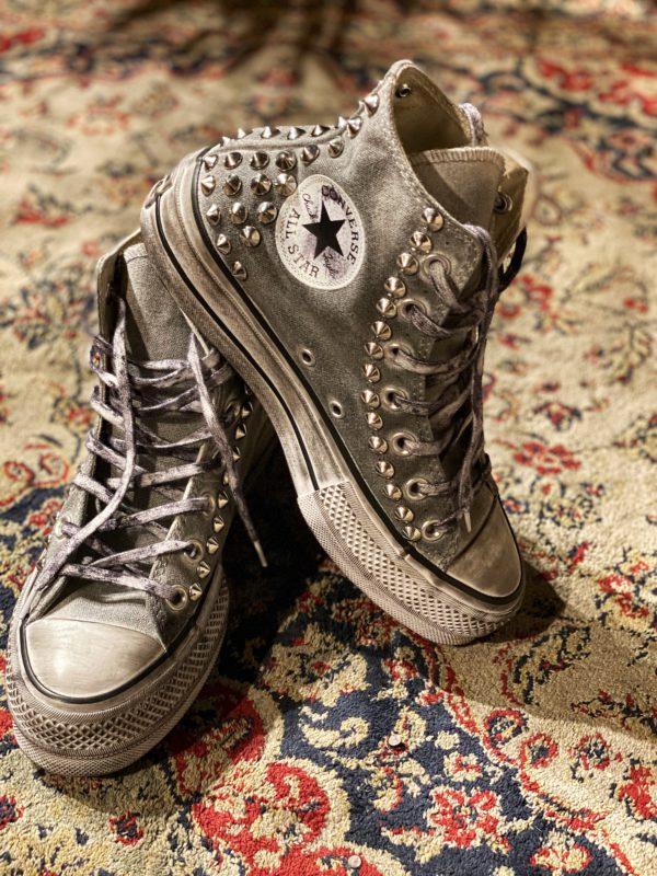 Converse LTD Platform Grey Heel Borchie argento
