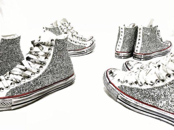 Le tue scarpe Converse Classic High White GLITTER Silver ...