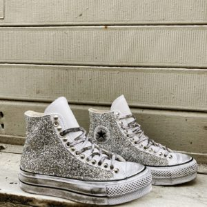 Converse Platform LEATHER WHITE GLITTER SILVER
