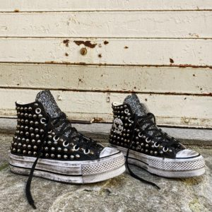 Converse Platform LEATHER BLACK Glitter Borchie