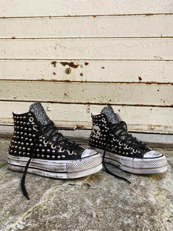 Converse Platform LEATHER BLACK Glitter Borchie
