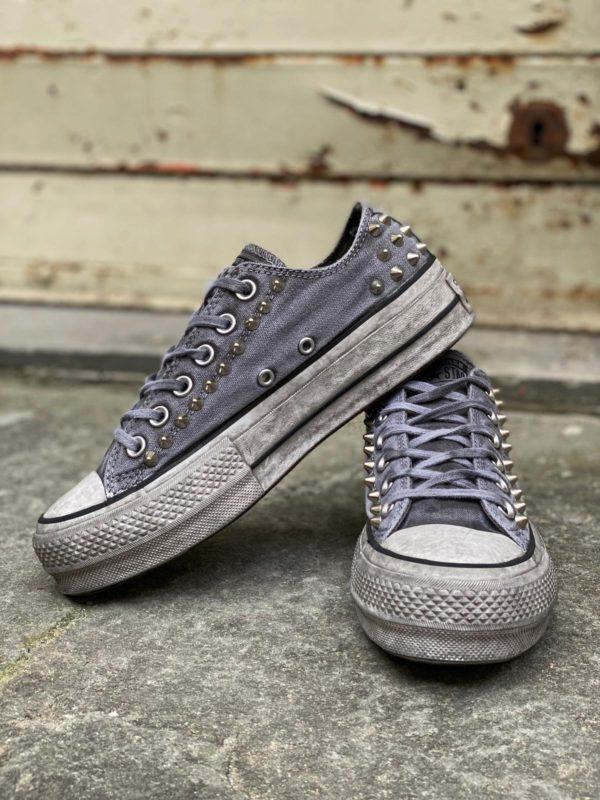 Converse Platform Low LTD grigio borchie argento