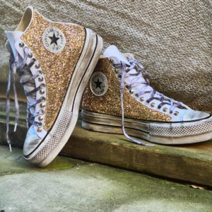 Converse Platform HIGH white GLITTER GOLD