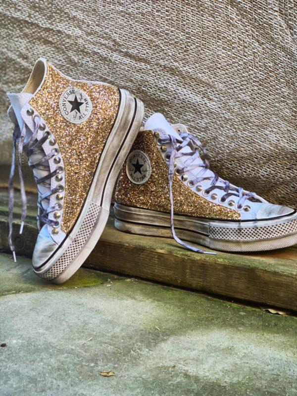 converse glitter oro