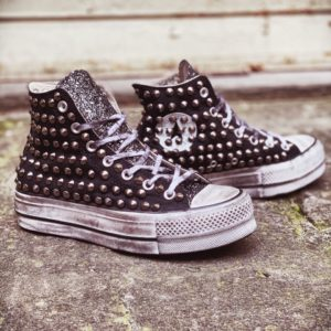 Converse Platform HIGH black CANVAS glitter borchie
