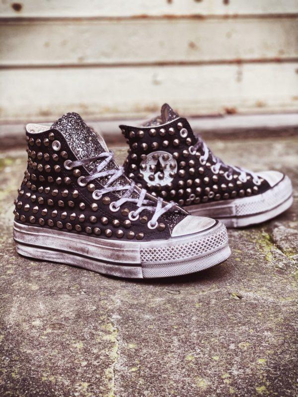 Converse Platform HIGH black CANVAS glitter borchie