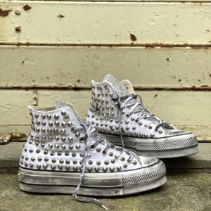Converse Platform HIGH White CANVAS glitter borchie