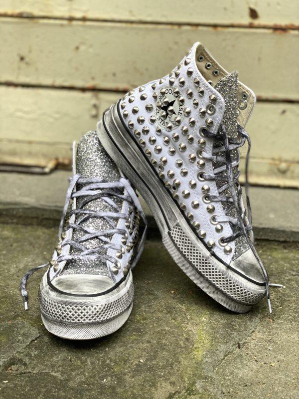 Converse Platform HIGH White CANVAS glitter borchie
