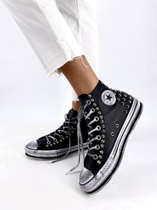 CONVERSE PLATFORM EVA HIGH BLACK LEATHER STUDS