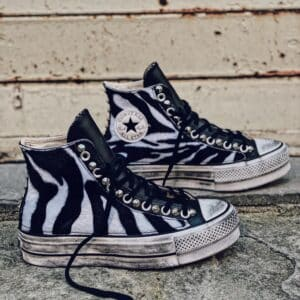 CONVERSE Platform High LEATHER black ZEBRA