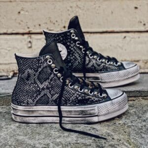 CONVERSE Platform High LEATHER black PITONE