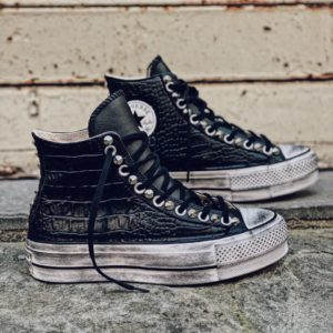 CONVERSE Platform High LEATHER black CROCO