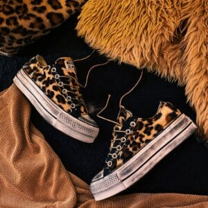 CONVERSE PLATFORM LOW black TEDDY LEO
